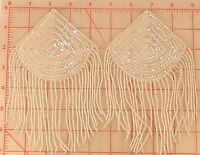 2 Vintage Iridescent 4 Beaded Epaulet Appliques W/ Fringe Sector Triangle Shape
