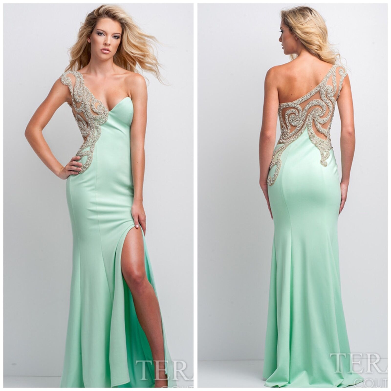 TERANI COUTURE 151P0064 MINT ONE SHOULDER EMBLISHED GOWN  AUTENTIC LOW PRICE