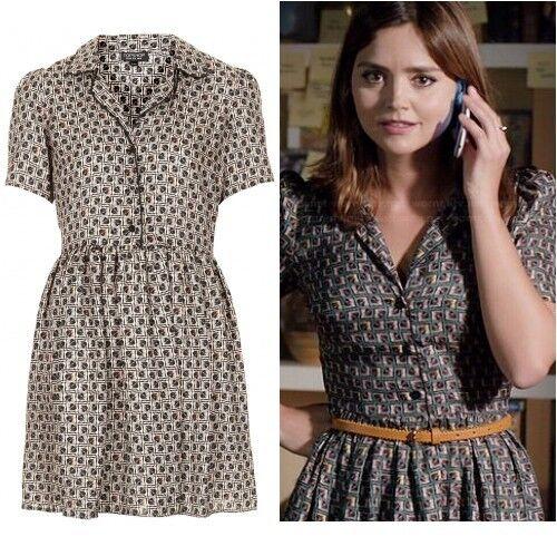 Topshop Cosplay Alt Nude Beige schwarz Silky Piped Tile Print Shirt Dress  Größe 8