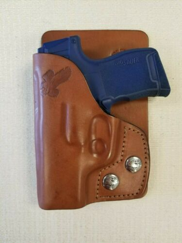 Fits SIG  P365,9mm BROWN leather right hand wallet and pocket holster