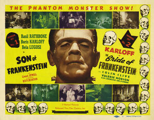 """Famous Monsters Son and Bride of Frankenstein Poster Replica Print 14 x 11"""""""