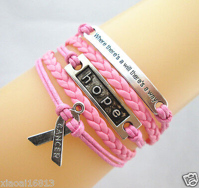 Motto/Hope/Breast Cancer Awareness Ribbon Charms Leather Braided Bracelet Pink
