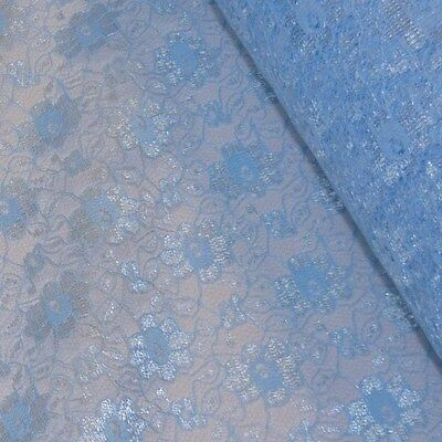 Baby/Pale Blue Budget Flower Lace Fabric *Per Metre