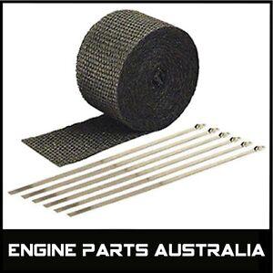 2000F-BLACK-EXHAUST-HEAT-WRAP-50MM-X-7-5M-6-STAINLESS-STEEL-TIES-CAR-BIKE-ETC
