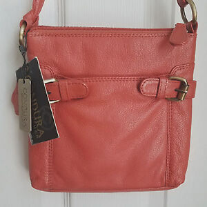 Image Is Loading Condura Leather Cross Body Bag Messenger Purse Orange