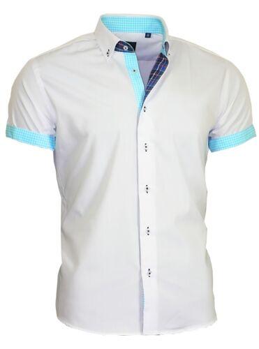 Camicia uomo camicia senza taschino manica corta shirt BINDER de Lux 83314 Bianco