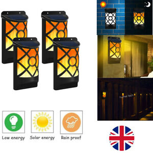 2pcs66-LED-Solar-Burning-Flicker-Flame-Fire-Light-Garden-Motion-Sensor-Wall-Lamp