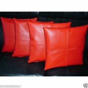 Pillow Cushion Cover Leather Decor Set Genuine Soft Lambskin Red All sizes 34