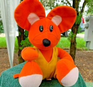 Vintage-Orange-Mouse-In-Yellow-Overalls-Lovey-10-034-Plush-Stuffed-Animal-Toy