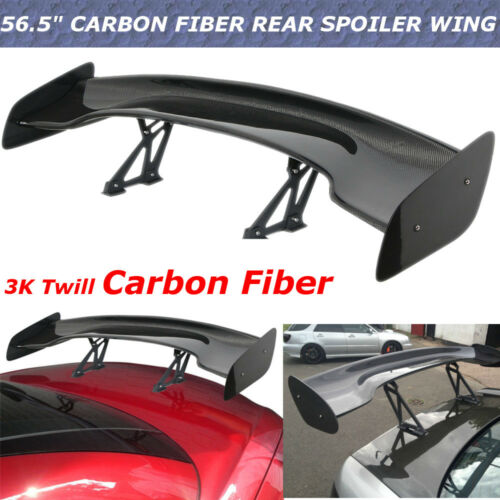 57/'/' Universal Real Carbon Fiber GT Adjustable Car Rear Racing Spoiler Wing Set