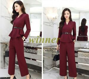 2018 Womens Sweet Spring Belted Formal Business Wide Leg Pants Suit