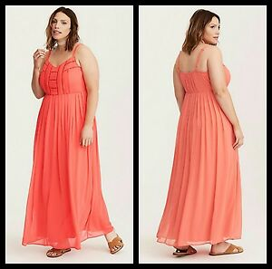 Details about Torrid Plus Size 2 2X Coral Chiffon Crochet Inset Pleated  Maxi Dress (33-20)