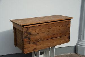 gro e alte holzkiste holz truhe kiste holztruhe tisch werkzeugkiste vintage ebay. Black Bedroom Furniture Sets. Home Design Ideas