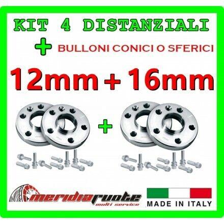 16mm KIT 4 DISTANZIALI PER PEUGEOT 206 DAL 1998 PROMEX ITALY 12mm PLUS 2