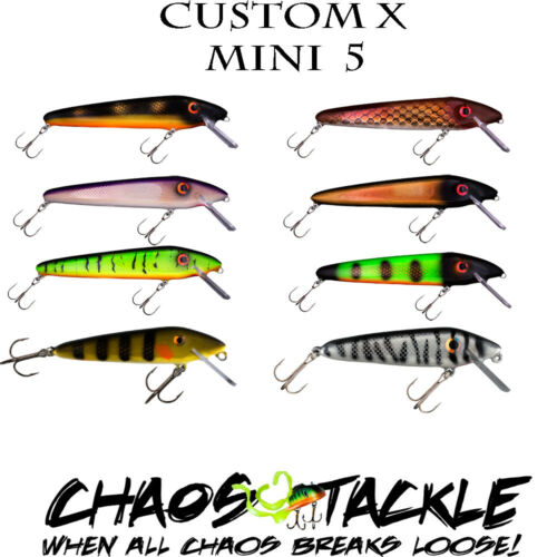 "Chaos Tackle Custom X Mini 5/"" Crankbait Lure Musky Muskie Pike Lures Lexon Lip"