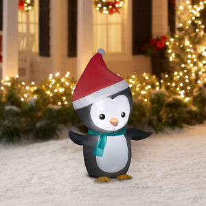 Image Is Loading Inflatable Penguin W Santa Hat 4 039 Outdoor