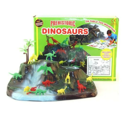 Kids Dinosaurs Play Set Playmat Crayons Dinosaur Mountain Plastic Toys colouring