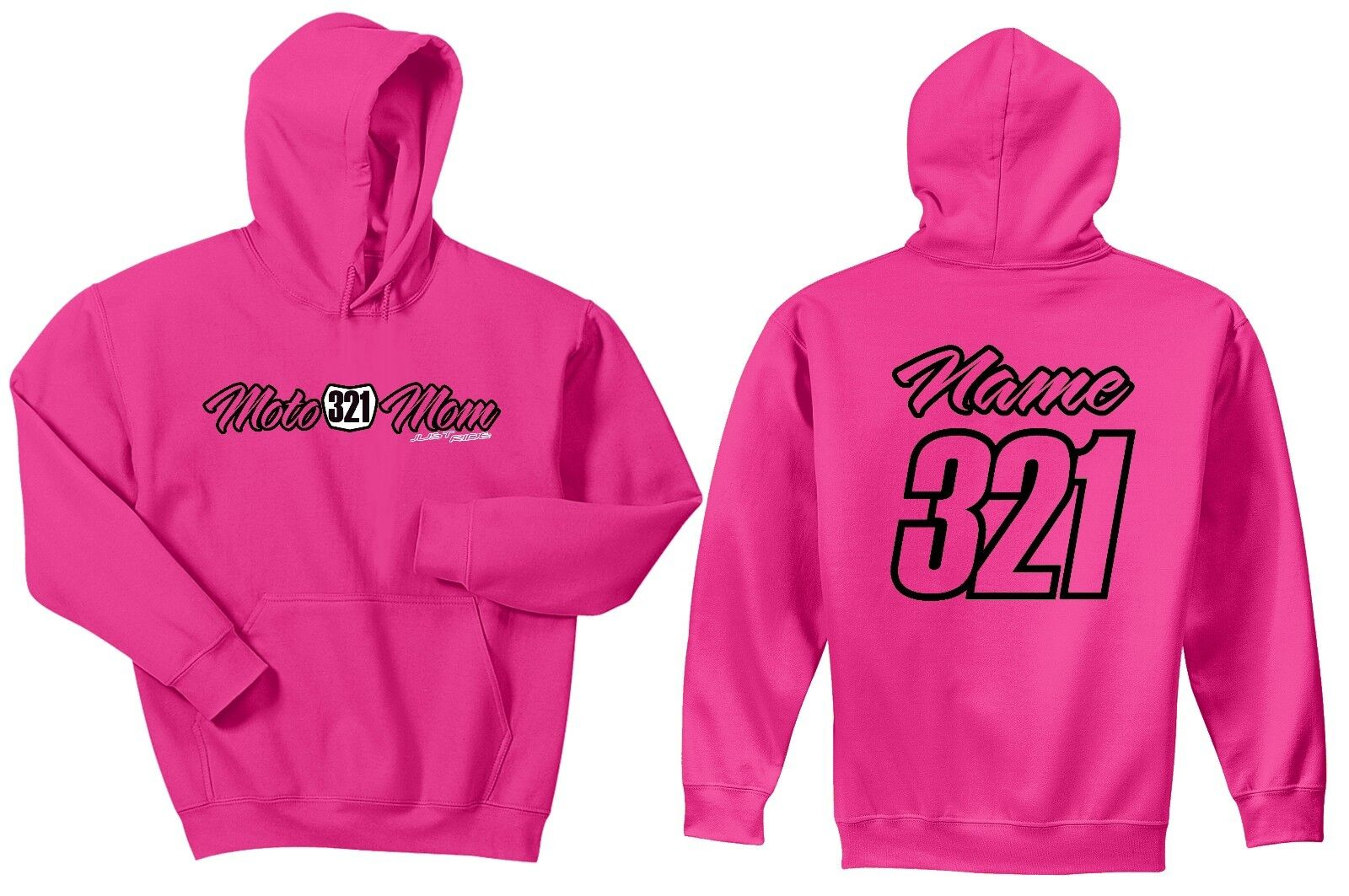 Rosa MOTO MOM NUMBER PLATE HOODIE SWEAT SHIRT JUST RIDE MX MOTOCROSS