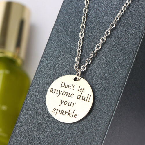 Quote Hand Stamped Pendant Mother Father Friend Chain Necklace Women Men Jewelry