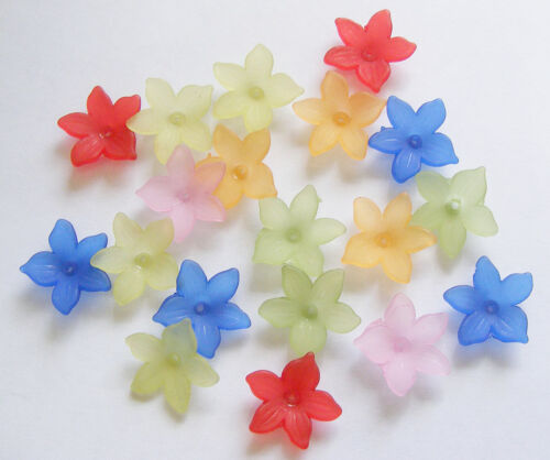20.5mm Mix 25 Acrylic//Lucite Frosted Flower Beads