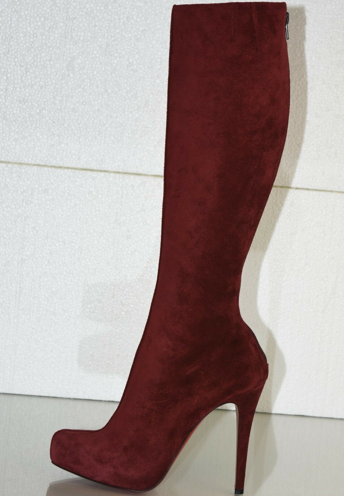 1825 New CHRISTIAN LOUBOUTIN Alta Ariella Burgundy Suede Knee H BOOTS SHOES 39