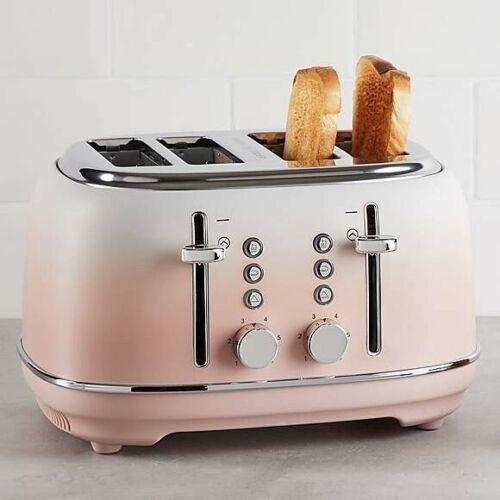 Pink Blush Ombre Effect 4 Slice Toaster Modern Design 1750W Kitchen Appliance