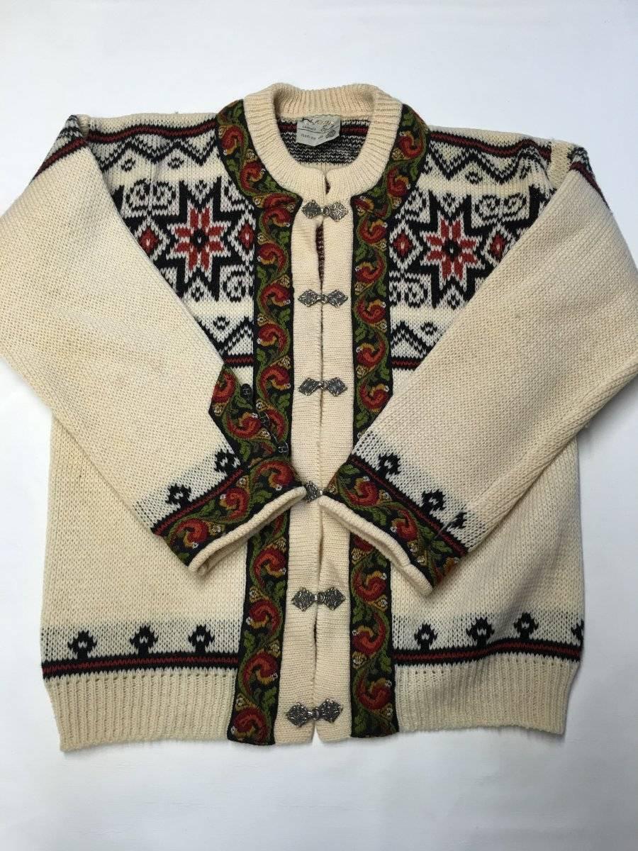 Womens GANN SPORTY Beige Knitted Wool Sweater Sz 44 Made In Norway