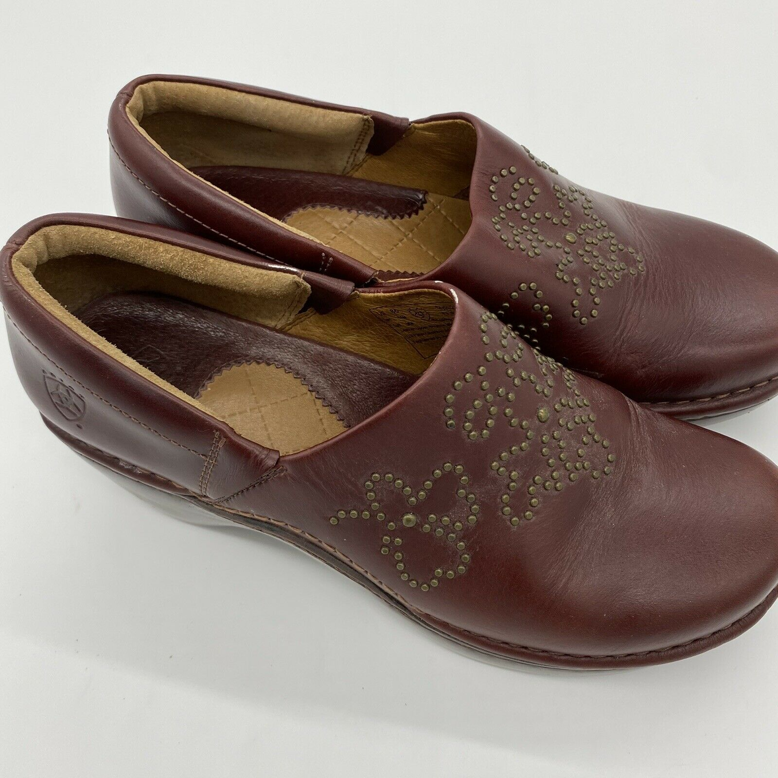 Ariat Strathmore Leather Brass Studded Nurse Clogs Loafers 21262 Women's 8B