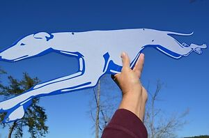 OLD-STYLE-LG-RUNNING-DOG-GREYHOUND-BUS-LINES-TRAVEL-DOG-2-SIDE-SIGN-USA-MADE