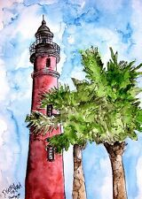 Ponce Inlet Florida FL lighthouse watercolor painting art print lighthouses