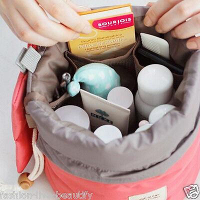 Women Lady Pouch Bucket Barrel Shaped Cosmetic Makeup Bag Set Travel Case Purse