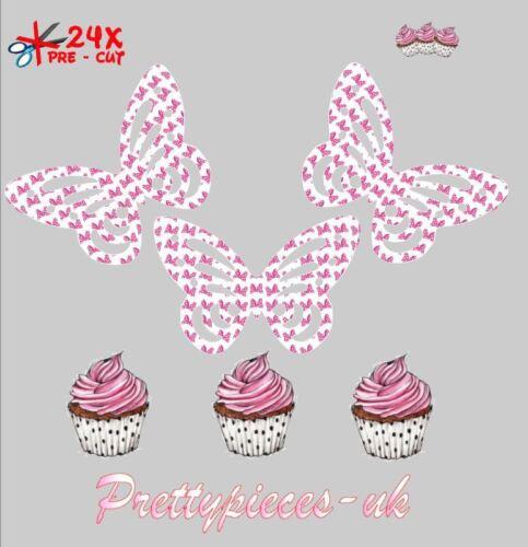 Minnie Mouse Bow Print MARIPOSAS 24 taza de papel de oblea de pre-cortado Cake Toppers