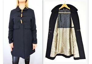 Details about MAISON SCOTCH Women's Wool+Cashmere Blend Navy Blue Duffle Coat Jacket
