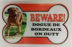 Intelligent Dogue De Bordeaux Beware Of The Dog Signe 12 Cm X 21 Cm Autres Pains Disponible-afficher Le Titre D'origine Confortable Et Facile à Porter