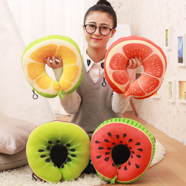 Cute Fruit U Shaped Pillow Nanoparticles Neck Pillows for Car Travelling Office