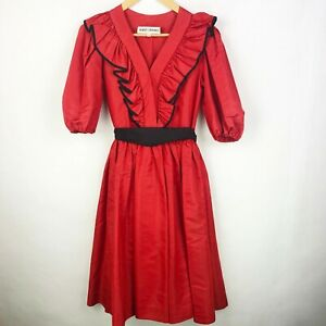 Vintage-80-039-s-ALBERT-CAPRARO-Red-Black-Taffeta-Ruffle-Puff-Sleeves-Dress-Size-4