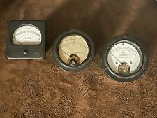 Lot Of 3 Vintage Steampunk Instrument Meter Gauges Amperes Milliamperes
