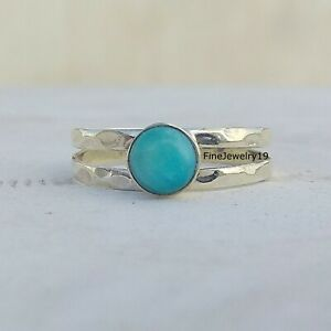 Larimar-Gemstone-Ring-925-Sterling-Silver-Handmade-Ring-Statement-Jewelry-A45