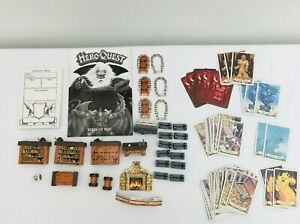 HERO-QUEST-FURNITURE-Dice-Cards-bundle-1989-MB-GAME-SPARES