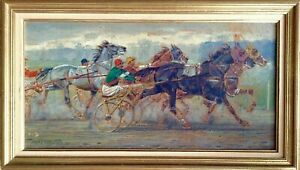 Antique-Oil-Impressionist-painting-Horse-Racing-c1926-Andre-FREMOND-1884-1965