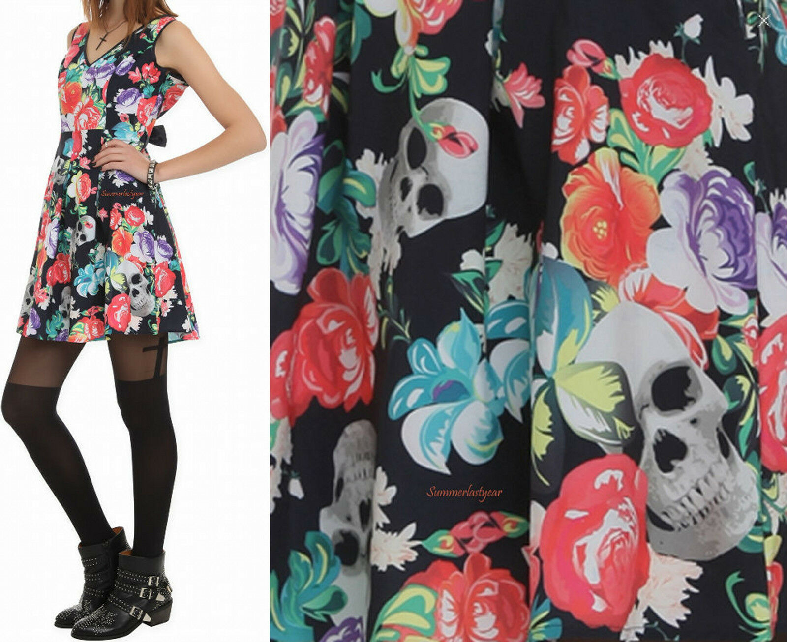 ROAMING HEARTS DRESS BY  IRON FIST WITH A SKULL AND FLOWER PRINT
