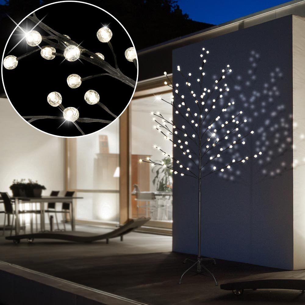 128 LED Lámpara De Pie Decoración árbol De Navidad Luz al aire libre bolas IP44 Negro Navidad