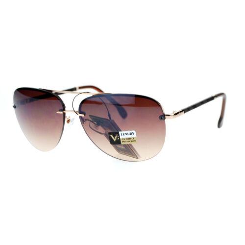 VG Eyewear Womens Luxury Rimless Animal Print Arm Aviator Sunglasses