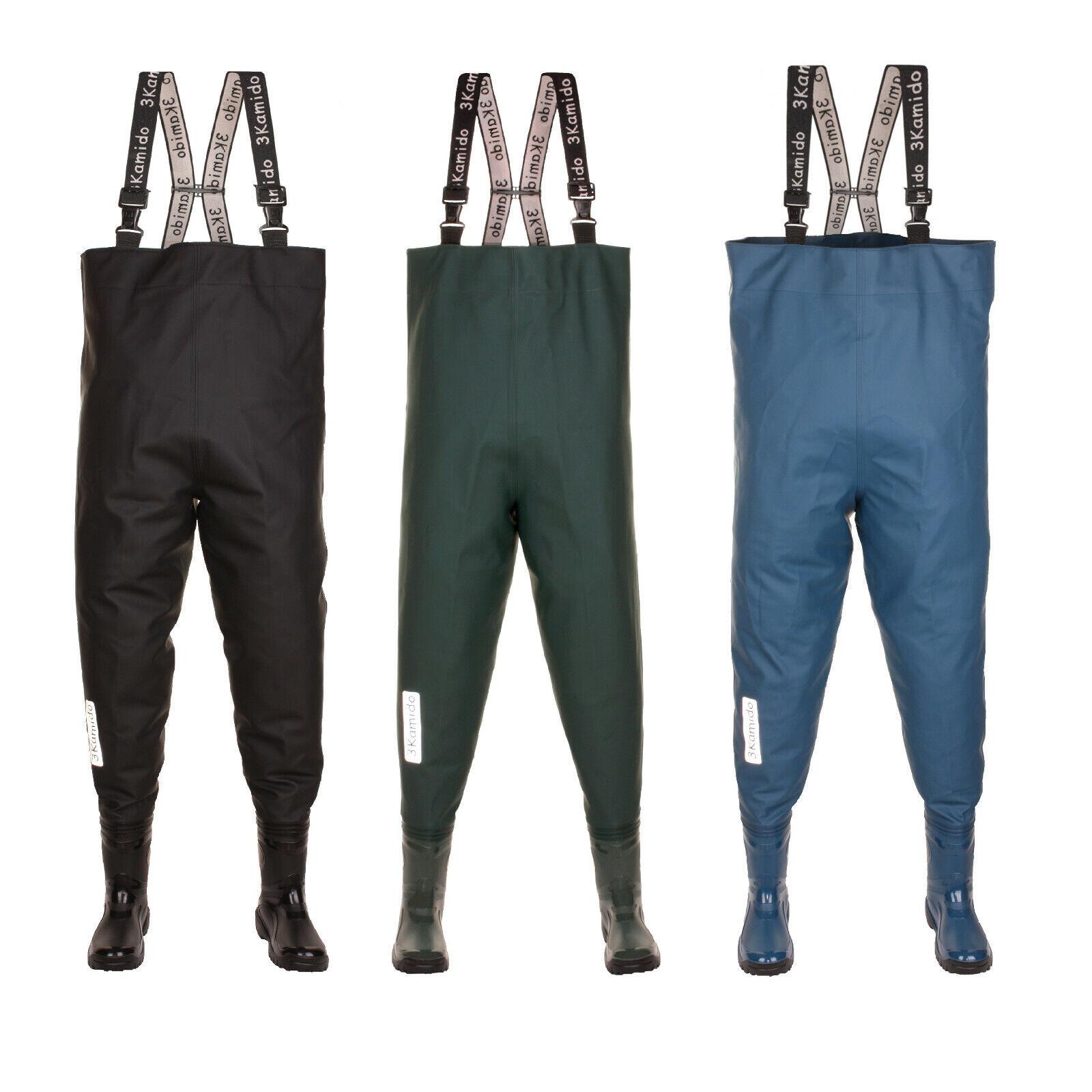 Wathose für Jugendliche Junior jung Anglerhose 36-42 EU Schwarz Grün, Blau denim