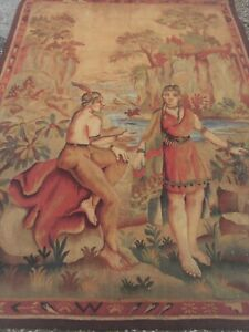 Antique-French-aubusson-tapestry-Unusual-Subject