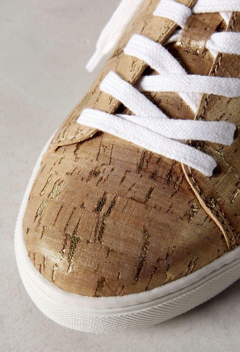 NIB Anthropologie Raphaella Booz Booz Booz Gold Metallic Cork Lace Up Sneakers 8 28da27