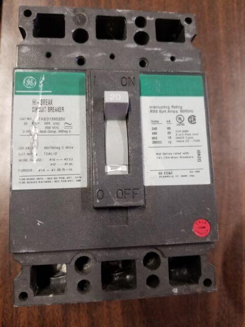 20 Amp 3 Pole 600 Vac #18JS-1081-X13 GE Hi-Break Circuit Breaker THED136020V