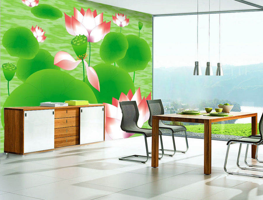 3D Green Lotus Leaf Nature 257 Wall Paper Wall Print Decal Wall AJ WALLPAPER CA