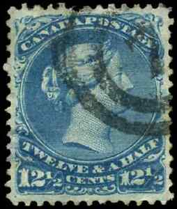 Canada #28 used VF 1868 Queen Victoria 12 1/2c blue Large Queen 2-ring cancel