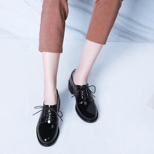 Womens Patent Leather Brogues Low Heels